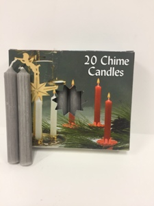 C1123GY CHIME CANDLES, GRAY, BX OF 20
