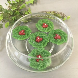 C8001 HOLLY WREATH FLOATING CANDLE