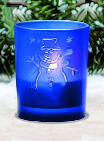 HJ369DB BLUE FROST GLASS SNOWMAN V/H*