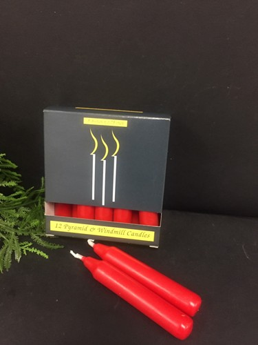 C1119CRD PYRAMID WINDMILL CANDLES, RED