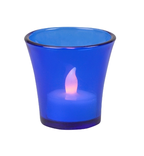 HP8BC FLARED COBALT GLASS VOTIVE HLD