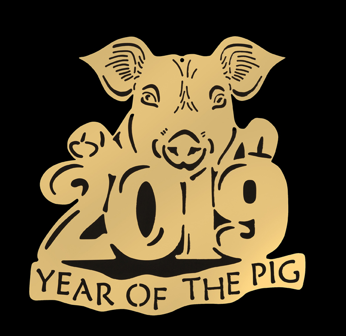 D2019CNY YEAR OF THE PIG DATED ORNAMENT
