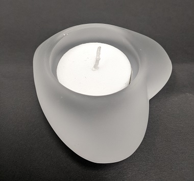 HJ745FR GLASS FROST HEART FOR TEALIGHT